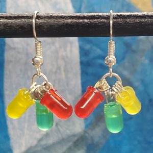 Yellow, Red, and Green LED Earrings