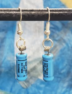 Blue Capacitor Earrings